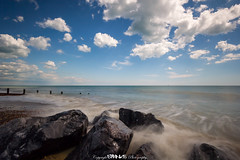 The One That Got Away. (5PR1NK5 Photography  Off The Beaten Track Urban) Tags: wood uk blue sea summer england sky sun seascape blur beach water beautiful clouds canon landscape photography sussex coast worthing sand rocks long exposure waves ship cloudy stones 10 south relaxing dramatic peaceful sunny scene pebbles stop le breakers distance simple far minimalistic gravel haida sunbathe 5pr1nk5