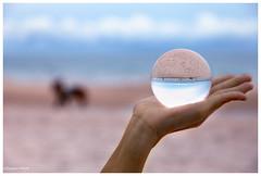 Ball at the Beach (Dax Ward Photography) Tags: sky sun beach landscape thailand sand hand crystalball glassball magicball thailady