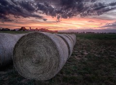 Bailing on Another Day - Boulder County, Colorado (Bryan Harding - Outside the Box Design Studio) Tags: ranch sunset sky field clouds twilight colorado farm longmont perspective boulder pasture rockymountains hay agriculture plains bale frontrange indianpeaks bouldercounty