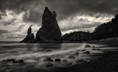 Rialto Beach (Patrick Stanbro) Tags: ocean blackandwhite usa classic beach beautiful clouds canon landscape coast washington nationalpark rocks pacific fineart wave stack 5d olympic rugged rialto seastack patrickstanbro silverefexpro 5dmkiii