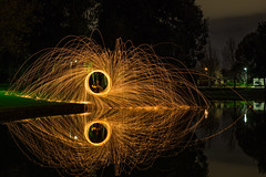 Hot Work (Astronomy*Domine) Tags: steel wool spin night nightscape lightpainting fire water lake reflection canon 6d tamron 2470 sifa