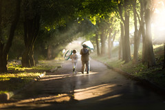 after the storm (iwona_podlasinska) Tags: road trees sun mist storm rain umbrella children sunlihht