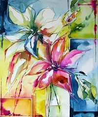 lis (veroniquepiaser-moyen) Tags: flowers flower fleur fleurs watercolor painting aquarelle peinture watercolour bouquet piaser piasermoyen