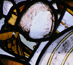 Stanford-on-Avon, St Nicholas, wI, 1b, detail of head fragment (gordonplumb) Tags: northamptonshire stainedglass medieval heads fragments stanfordonavonstnicholas