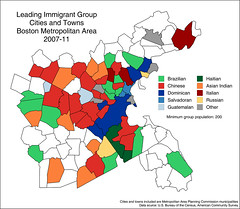 Leading immigrant group, cities and towns, Boston metro area, 2007-11 (Blake Gumprecht) Tags: urban boston metro map maps group cities immigrants population towns leading metropolitan immigration placeofbirth foreignborn countysubdivision
