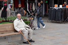 7D6_8229 (bandashing) Tags: old england plants man black face bench asian manchester sitting market walk headscarf clothes hyde walkingstick cover push civicsquare sylhet bangladesh pram burkha aoa tameside bandashing hydemarket akhtarowaisahmed