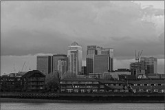 Storm over Docklands (PaulHP) Tags: white black london monochrome thames river greenwich docklands
