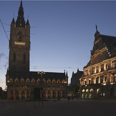 Ghent Belfort and theatre (Wendy:will catch up ASAP!) Tags: night belgium theatre ghent merge belfort