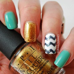 Turquoise & Chevron Nails! #turquoise #chevron #gold #zigzag #opi #essie #nails #nailpolish #nailporn #polish #mani #manicure #notd #nailstagram (Sarahlou729) Tags: sparkles square gold turquoise nails squareformat nailpolish nailart iphoneography instagramapp uploaded:by=instagram