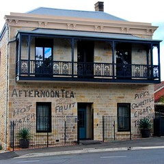 temperance inn restored (Ian Riley) Tags: old building heritage sign inn afternoon village tea ghost pipes australia historic restored cigars sa cigarettes southaustralia tobacco temperance mitcham uncovered