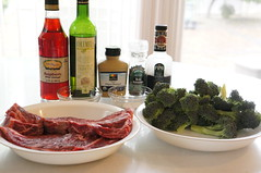 Hanger Steak and Broccoli with Balsamic Raspberry Vinaigrette (qbc007) Tags: with broccoli steak raspberry balsamic hanger vinaigrette