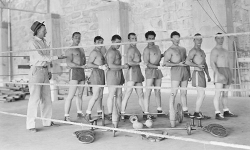 8-man boxing team inside a boxing ring, 1930s Colorado State Prison