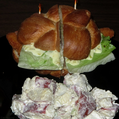 Filet of sole sandwich and potato salad