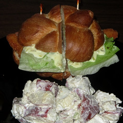 Filet of sole sandwich and potato salad (Coyoty) Tags: red food brown white fish green college tomato bread lunch salad cafe sauce connecticut ct sandwich lettuce potato seafood roll sole filet farmington tartar cornercafe tunxiscommunitycollege