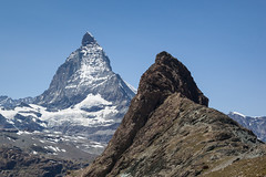 The Matterhorn and Riffelberg (Vibrimage) Tags: mountains alps trekking switzerland glaciers summit zermatt matterhorn greatview riffelberg montcervin alpinesummer