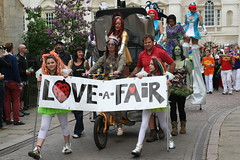Love a Fair  (raggi di sole) Tags: street cambridge england people colour fair procession stilts strawberryfair