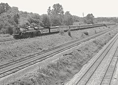 Chessie Steam Special enters New Castle from the east, running on the B&O line from Eidenau and Pittsburgh. The P&LE and B&O mainlines are in the foreground. 1978 (Ivan S. Abrams) Tags: blackandwhite newcastle pittsburgh butler bo ge prr ble conrail alco milw emd ple 2102 chessiesystem westmorelandcounty 4070 bessemerandlakeerie steamtours pittsburghandlakeerie ivansabrams eidenau steamlocomtives ustrainsfromthe1960sand1970s