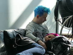 Blue and red (seikinsou) Tags: blue autumn red copenhagen hair denmark airport gate wait hairstyle departure macbook