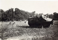 French Tank Leading an Attack Alone Marne (San Diego Air & Space Museum Archives) Tags: tank wwi worldwari worldwarone greatwar firstworldwar thegreatwar armoredwarfare armouredwarfare schneiderca1 schneiderca