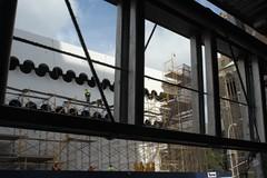 St Vincents scaffolding erection (Pheral Lamb) Tags: city nyc newyork building workers scaffolding realestate manhattan ladder erection gentrification worksite greenwichvillage stvincentshospital sidewalkshed condoconversion