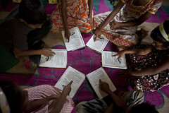 Children take part in an exercise in groups inside a BRAC primary school in Manikganj. DFAT funds a range of core programs including its education work primarily in formal education.