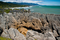 Amazing Rock Formations (Jocey K) Tags: sea newzealand sky plants water clouds bush rocks hills southisland westcoast punakaiki pancakerocks blowholes