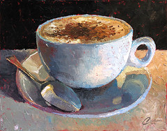 Cappuccino Italiano IV (ChristopherClarkArt) Tags: original italy stilllife food art coffee painting cafe italian paint artist fine christopher knife daily clark painter oil impressionism espresso latte cappuccino impressionist palette caffe