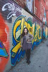 Right Now (KatGatti) Tags: street portrait woman toronto brick art texture girl beautiful fashion st wall contrast canon project hair graffiti sweater alley friend long dress legs boots w perspective style lips queen filter effect gatti outtake matte 52 rhiannon