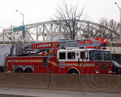 "E043l FDNY ""Sedgwick Slashers"" Ladder 59 on I-87 Major Deegan Expressway, Bronx, New York City (jag9889) Tags: county city nyc ny newyork truck fire bronx company borough ladder fdny department firefighters 59 seagrave sedgwick bravest slashers 2011 sedgwickavenue morrisheights e043 y2011 jag9889"