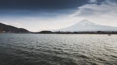 kawaguchiko lake and mt. fuji on the mist (notjustnut) Tags: travel sky mist lake japan landscape fuji landmark traveller fujisan mtfuji kawaguchiko kawaguchilake