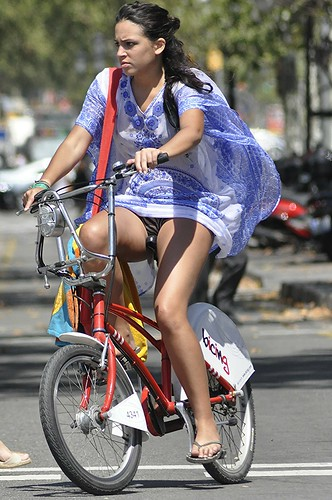 Upskirt on a bike