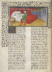 La Vraye Histoire du Bon Roy Alixandre (The Alexander Romance in Old French prose). - caption: 'Nectanebus as a serpent enters Olympias' chamber, and practices enchantments on her as she sleeps in bed.'