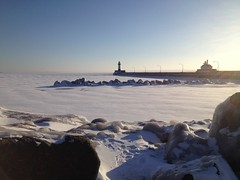 Canal on Ice, Duluth (Sharon Mollerus) Tags: {vision}:{outdoor}=099 {vision}:{sky}=099 {vision}:{sunset}=076 {vision}:{clouds}=0887 {vision}:{ocean}=089 {vision}:{beach}=0556