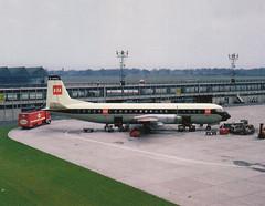 BEA Vanguard G-APEA, Manchester-Ringway, 21st July 1963e (Proplinerman) Tags: airplane manchester bea aircraft aeroplane airliner turboprop vanguard 1963 vickers ringway propliner britisheuropeanairways gapea vickersvanguard v951
