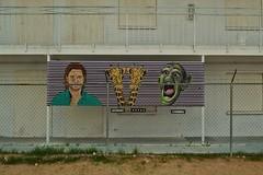 Brad Pitt, Giraffes, & Batboy (rickele) Tags: streetart lasvegas rip nevada motel vacant giraffes boardedup giraffe bradpitt outofbusiness donotenter notrespassing batboy