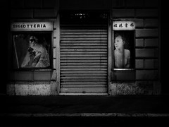 """Notturno Romanesco  "" (helmet13) Tags: bw rome shop night poster women silence seedy aoi 100faves bigiotteria peaceaward heartaward world100f custumejewelry leicaxvario"