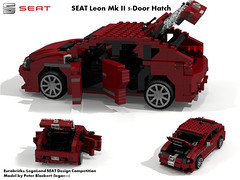 SEAT Leon MkII -  PQ35 (Eurobricks Miniland Car Design Competition) (lego911) Tags: auto car vw spain model lego render seat competition leon mk2 hatch compact billund legoland cad hatchback mkii povray 5door moc ldd miniland 5dr eurobricks pq35 lego911
