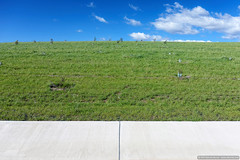 White green blue (sbyrnedotcom) Tags: blue urban white abstract green water concrete australia minimal civil infrastructure canberra wright simple tricolour act weston drainage molonglo