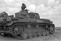 German tank Pz.Kpfw. III Ausf.G from the 15th Panzer Division of the Wehrmacht in the desert.<br />