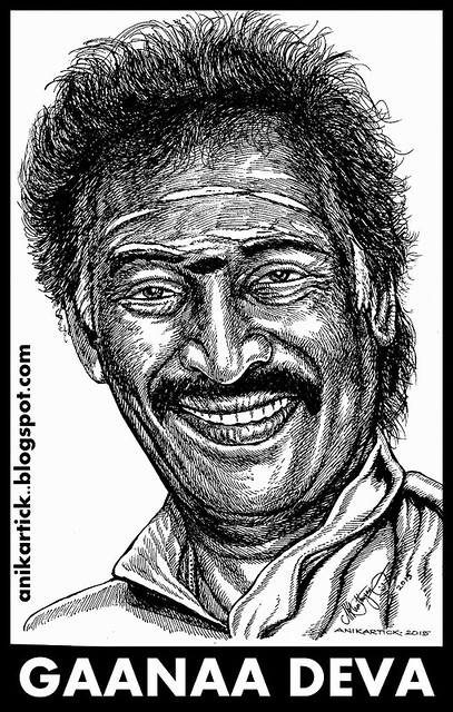 DEVA Music Director - One of the Tamil Popular Music Composers in Tamil Nadu,Also Known for Singing Gana Songs and first introduced Tamil Gana Songs into Tamil films - Portrait art by Artist Anikartick,Chennai