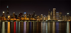 My kind of town (Gnome Girl!) Tags: city panorama usa chicago skyline night canon reflections illinois cityscape hdr