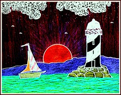 Sunset Sail (traqair57) Tags: sunset lighthouse yacht drawing clipart