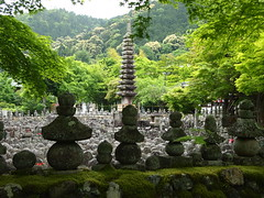 A Sacred temple (brisa estelar) Tags: travel trees green grave souls dead temple spring kyoto stones traditional buddhism rainy legends