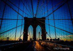 Sunrise on the Brooklyn Bridge! (NCP Imaging) Tags: city nyc newyorkcity bridge blue urban orange usa architecture sunrise cityscape cables brooklynbridge radiocity iamcanadian
