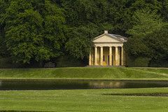 Temple of Piety & Moon Pond (Luc Le Blanc) Tags: uk trees england moon reflection water beautiful abbey grass architecture walking landscape temple pond yorkshire adventure explore national trust educational fountains piety nationtrust