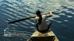 (Kelly Rene) Tags: blue woman rural river boat cambodia southeastasia row kh dailylife splash battambang sangkerriver phumdounent