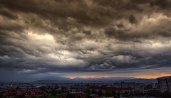 Threatening sky (marko.erman) Tags: city light shadow sky panorama storm clouds cityscape view threatening sony horizon dramatic wideangle stormy slovenia ljubljana far cloudscape