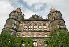 Up front and above - Ksi Castle (Maciej Wojciechowski) Tags: trip travel sky building green castle history architecture clouds outside view outdoor famous poland castillo ksi ksiaz