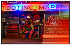 HUNTO SHUTTERS ON TOOTING MARKET (StockCarPete) Tags: streetart nightshot shutters londonstreetart shutterart tootingmarket hunto