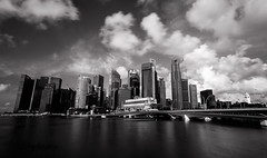 Waterfront Marina Bay (exlored) (Lucy Burtin) Tags: sky blackandwhite cloud water monochrome skyline outdoor